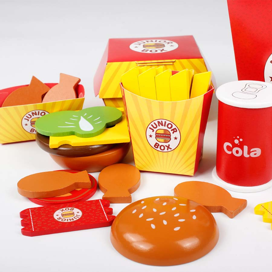 Fast Food Toy French Hamburger Wooden Toys Pretend Assembled Model Kids Educational Play House Kitchen Toys
