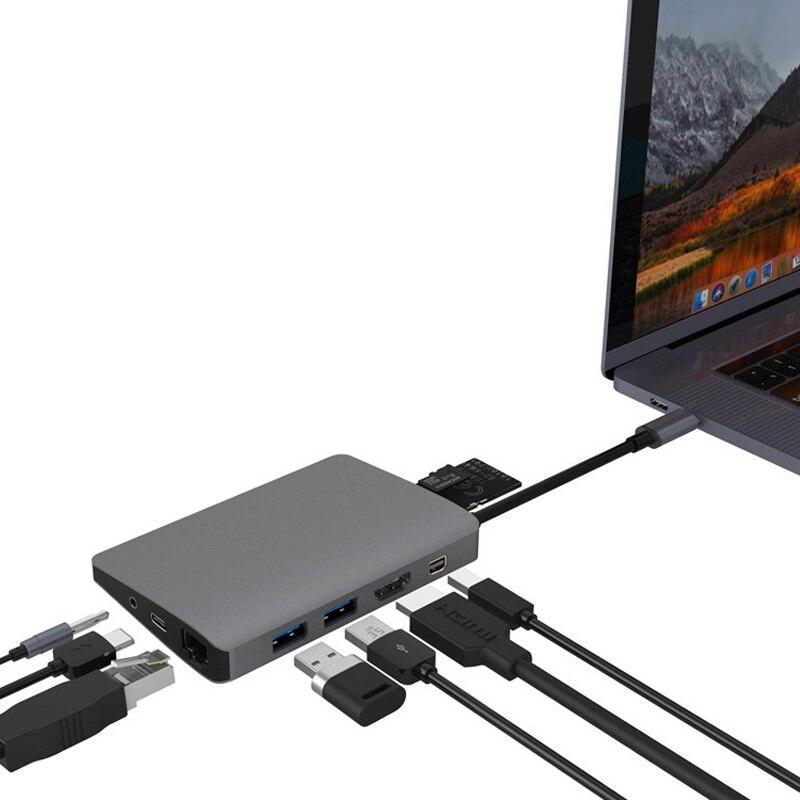 SX103 HUB TYPE-C to HDMI nine-in-one docking station USB 3.0*2+HDMI (4K) + miniDP + Gigabit LAN + audio + SD + TF + PD HDMI suppSX103 HUB TYPE-C to HDMI nine-in-one docking station USB 3.0*2+HDMI (4K) + miniDP + Gigabit LAN + audio + SD + TF + PD HDMI supp