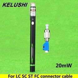Kelushi 20 mw caneta estilo visual localizador de falhas fibra testador detector fc macho para lc fêmea adaptador para lc/sc/st/fc cabo de conector