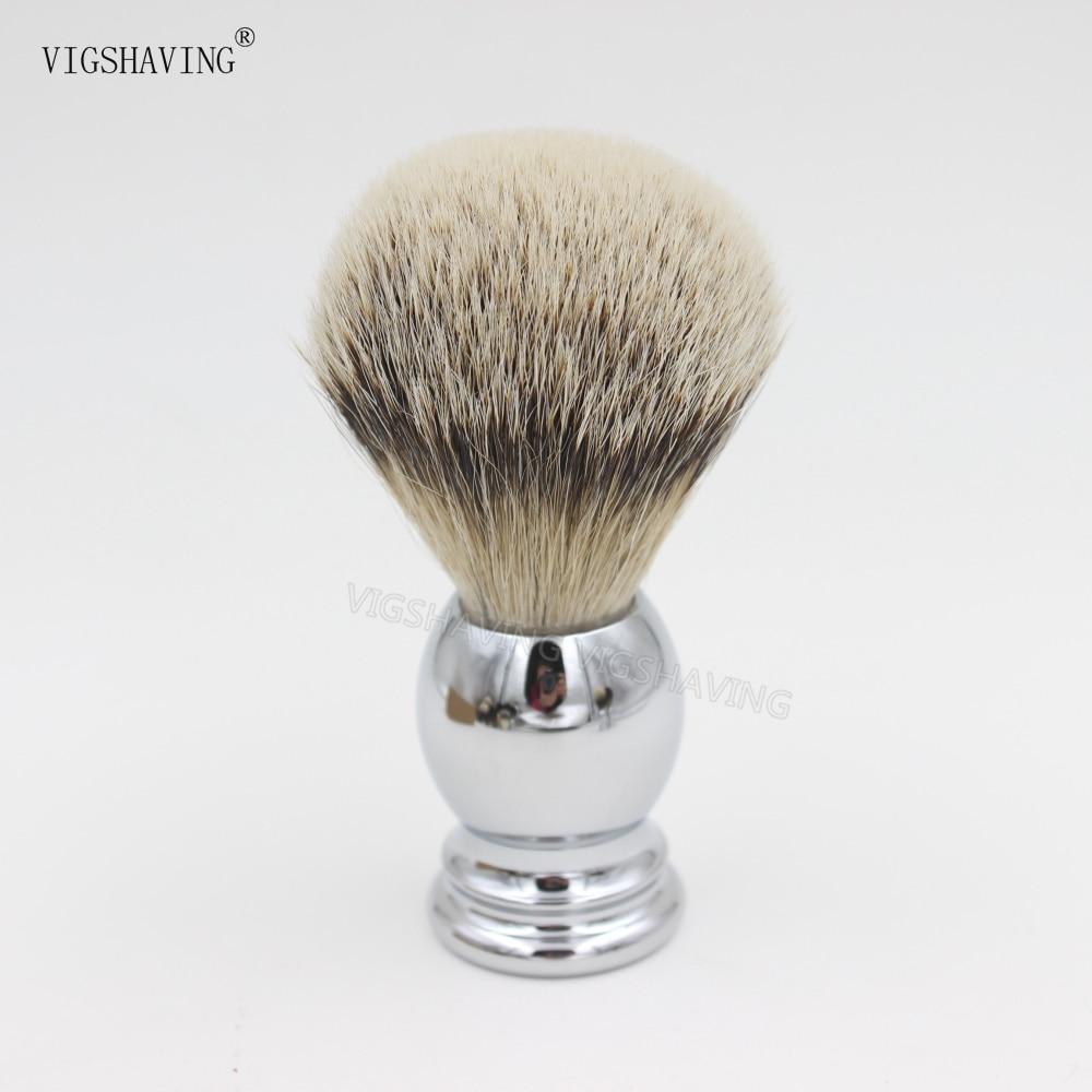Chrome plated Metal Handle Silvertip badger hair shaving brush