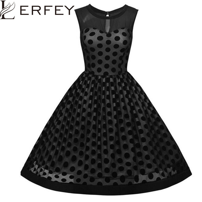 LERFEY Women Dot Polka Sexy Dress A Line Mesh Vestidos Black Sleeveless Patchwork Casual Dresses Plus Size Party Dresses