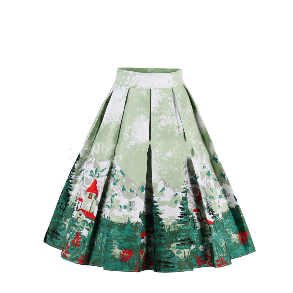 Hot sell women Skirts summer floral print 9 color high quality a-line  High Waist Vintage Skirt Skater Midi Skirt faldas mujer