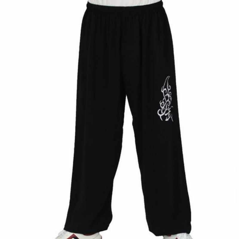 Czarny kolor luźne spodnie sportowe dla mężczyzn spodnie Kung Fu chiński styl Tai Chi Kendo mężczyzna sztuki walki odzież sportowa odzież sportowa
