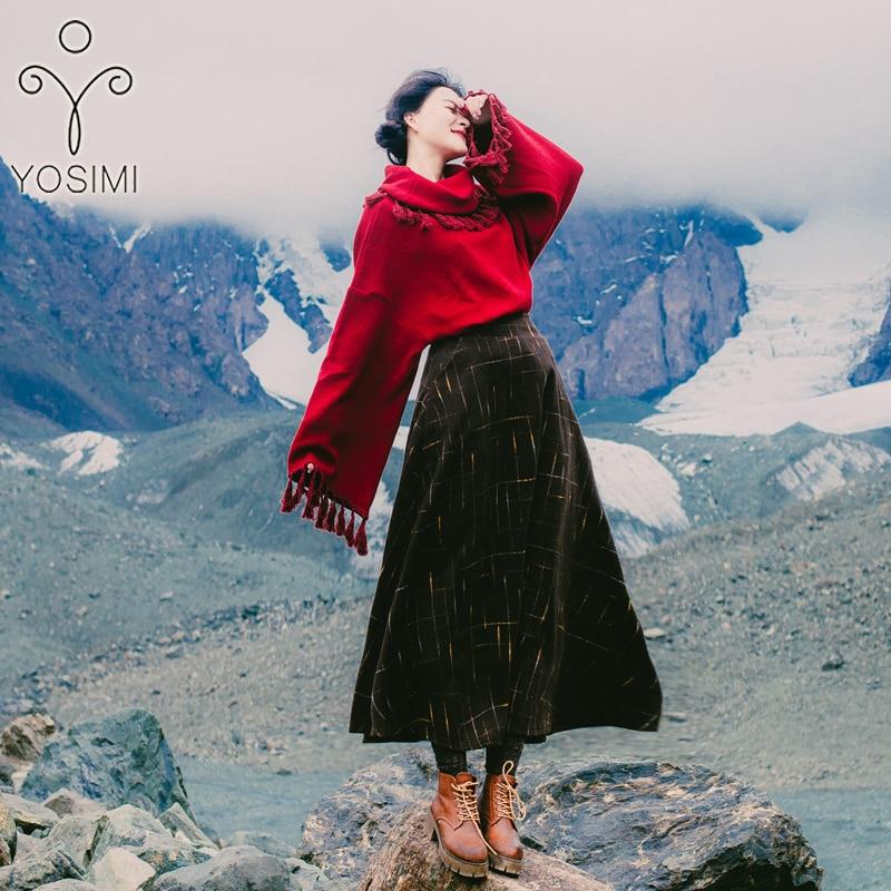 Yosimi Femme Manches Robe Automne Ensemble Deux Jupe Femmes Hiver Chemisier Pour Pièces Pleine Top 2 Et 2018 Pull Laine En Set rCqrwX1