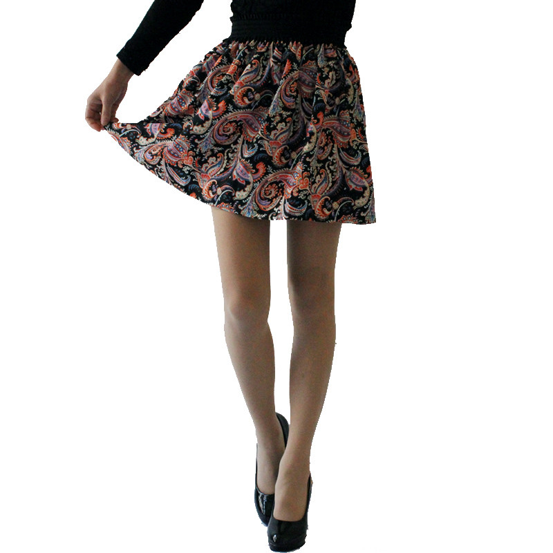 Fashion Pleated Retro High Waist Summer floral plaid Short Mini Skirts 15