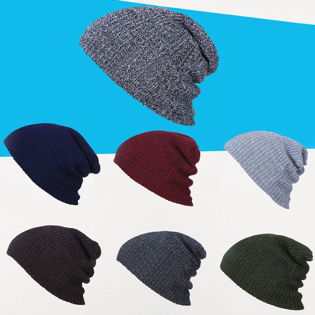 Quente Knit Baggy Beanie Oversize dos homens Inverno Quente Chapéus Slouchy  Chic Crochet Tampão Feito Malha f15db3c95f7