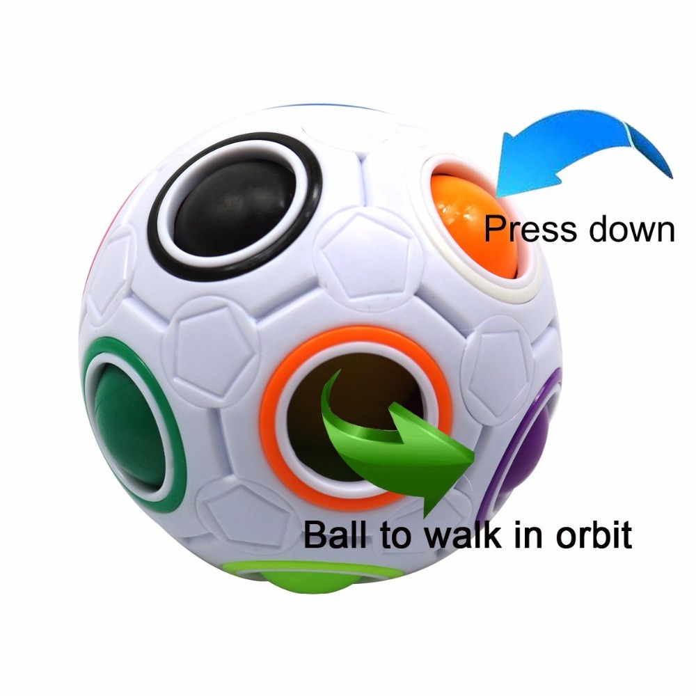 Magic Rainbow Ball Cube 3D Puzzle Toys Fidget Balls Toy Football Design Learning & Education Gift for Children Kids Adults