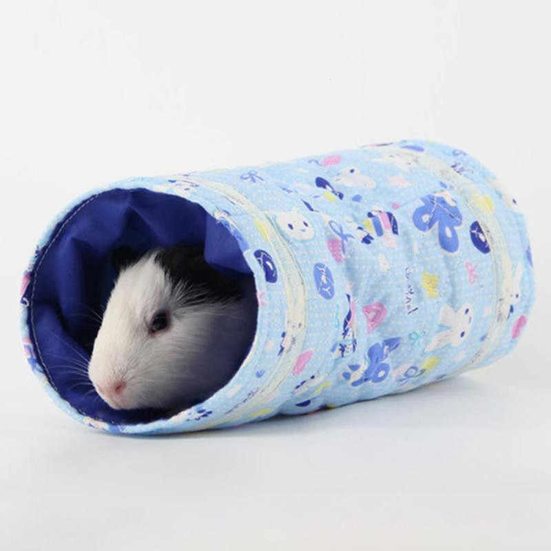 Hamster Toy Tunnel Small Pet Cartoon Pet Tubes Bed House Nest For Rabbits Ferrets Guinea Pigs Winter Warm Toy