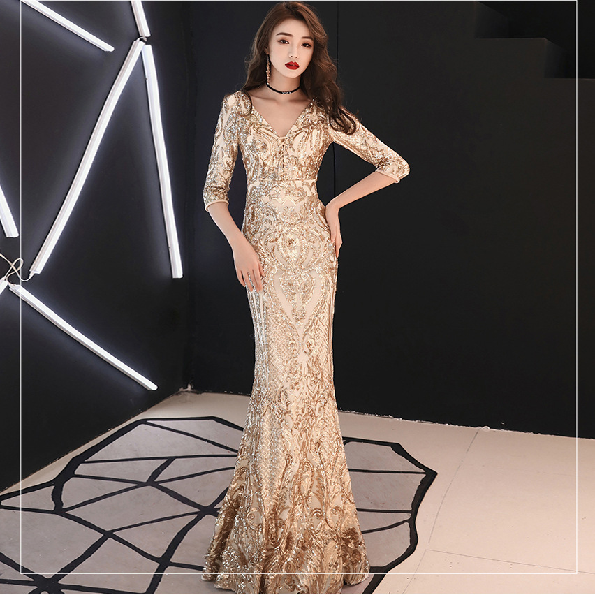 Fashion Gold Three Quarter Sleeve Deep V neck Sequin Lace up Floor Length Long Dress Elegant Night Evening Party Formal Dresses