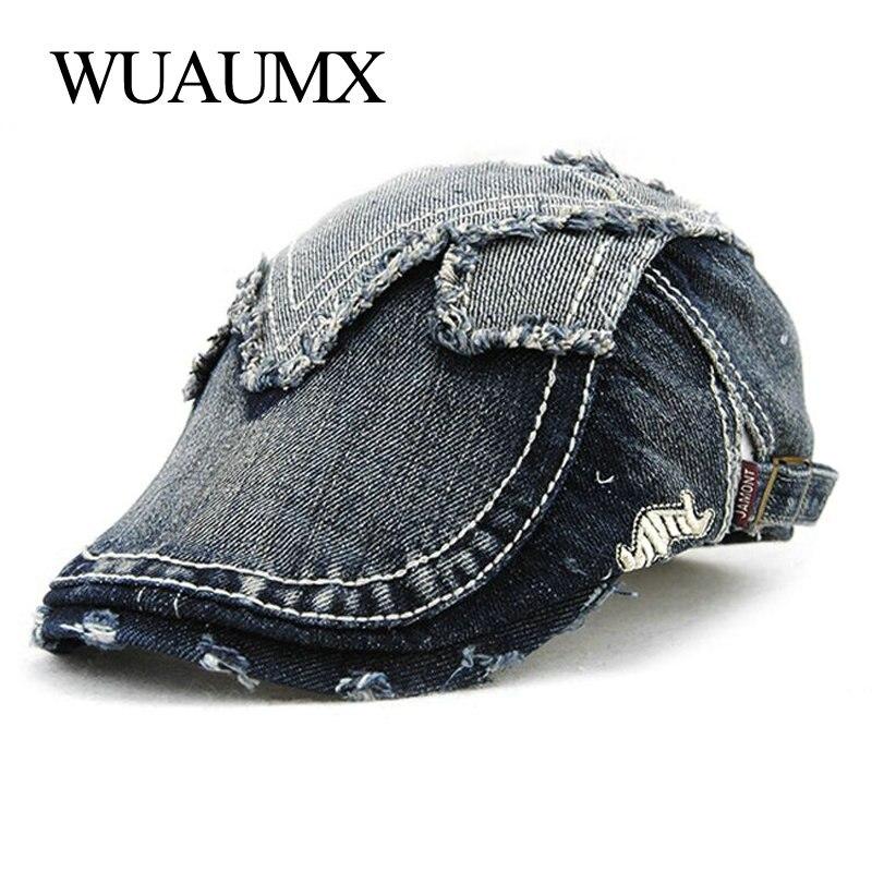 Wuaumx Vintage Womens Beret Hats Duckbill Military Men Buckle Visors Denim Driving Flat Cap Detective Hat Gorras Planas
