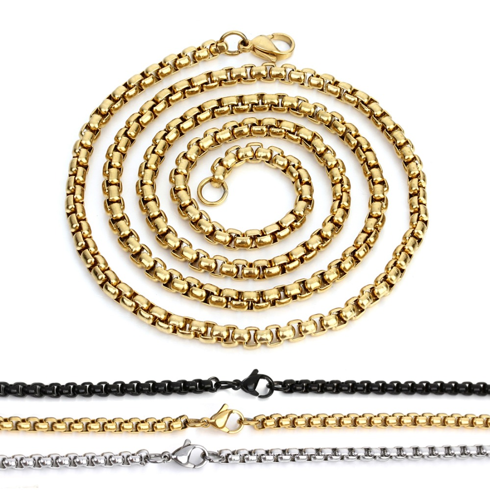 61cm/lot Stainless Steel Necklace Popcorn Chains Gold Silver black Color Long Chain with Lobster Clasps for DIY Jewelry Findings