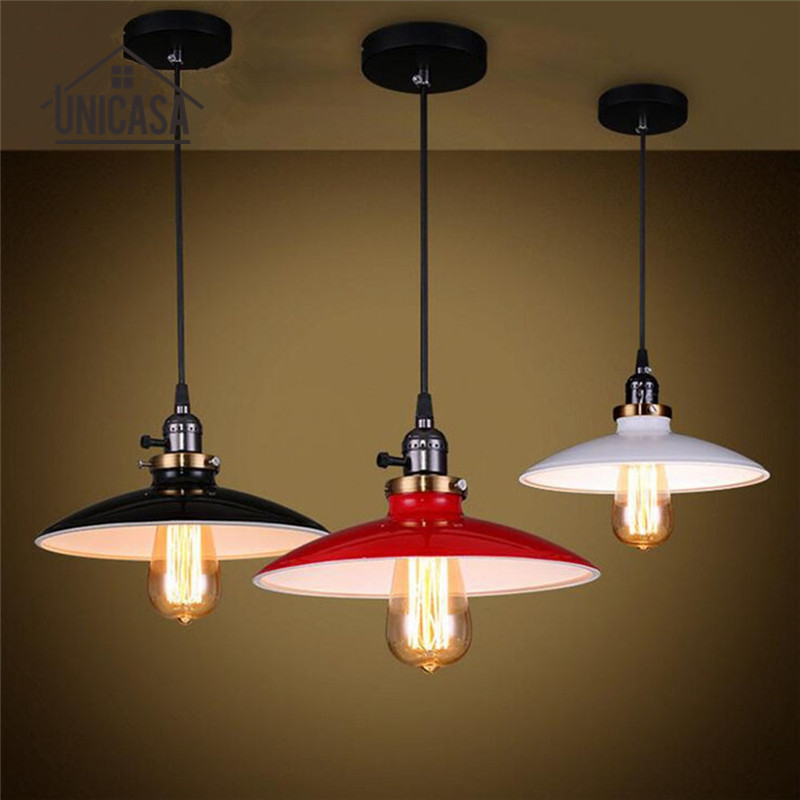 Antique White Black Red Metal Shade Lighting Fixtures Kitchen Island Office Modern Pendant Lights