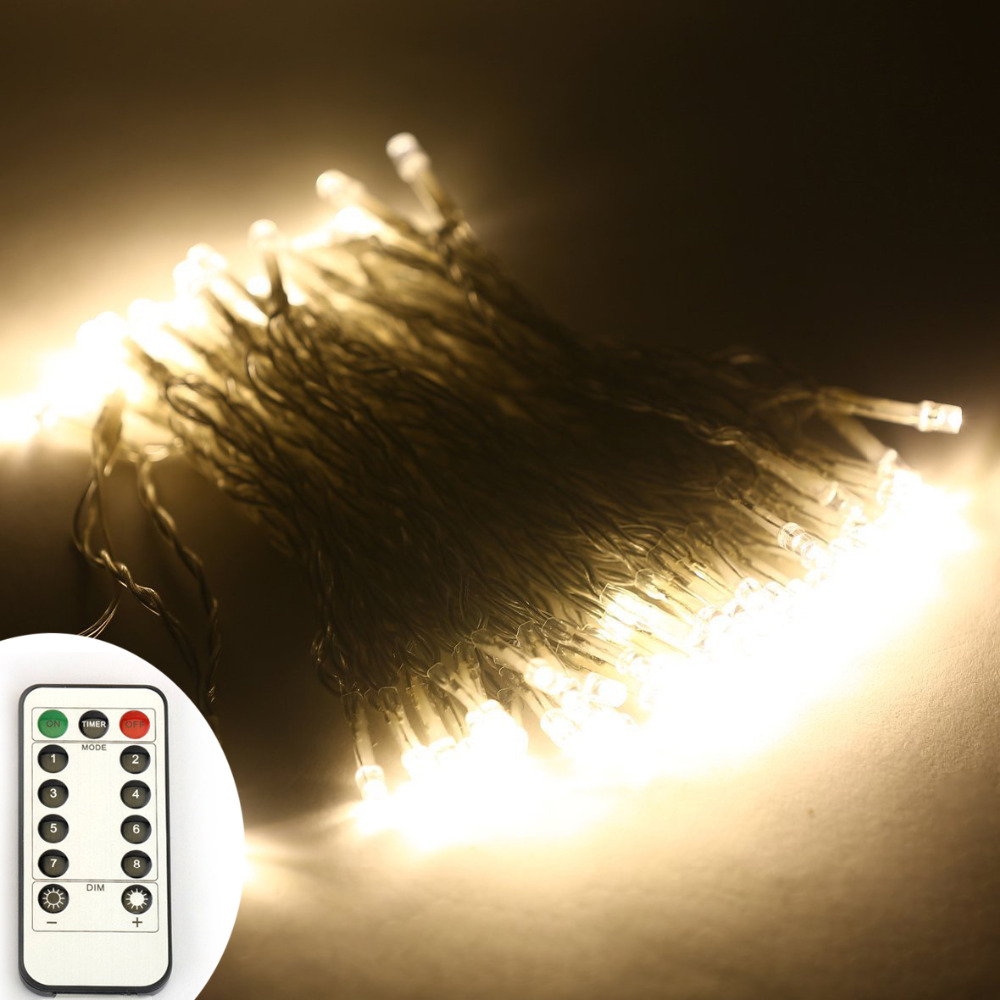 10m/33Ft 100 leds WarmWhite Light LED Christmas String Lights PVC Wire Battery Powered 8 Mode Remote Control Waterproof
