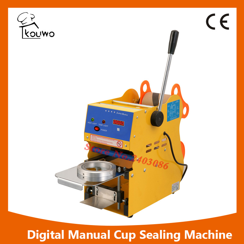 KW-F01S commercial use Digital manual fruit juice food plastic cup sealing packing machine for beverage