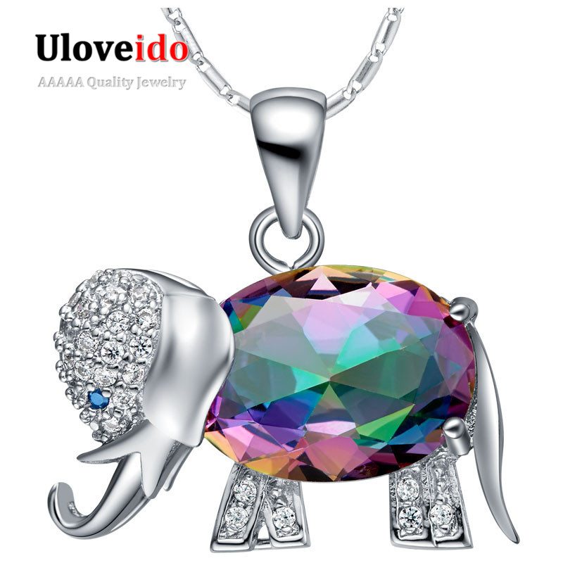 Uloveido font b Necklaces b font Rainbow Mystic Cute Elephant Animal font b Pendant b font