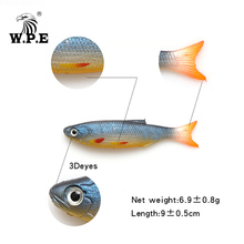 W.P.E 90mm 6pcs/pack Soft Fishing Lure 3D eyes Colorful Swimbaits Jig Head Bait Silicone Wobblers