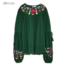 NATOODA Women Clothes Summer Autumn 2017 Green Folklore Embroidery Feminine Shirt Flower Blouses Traditional Chinese Clothing