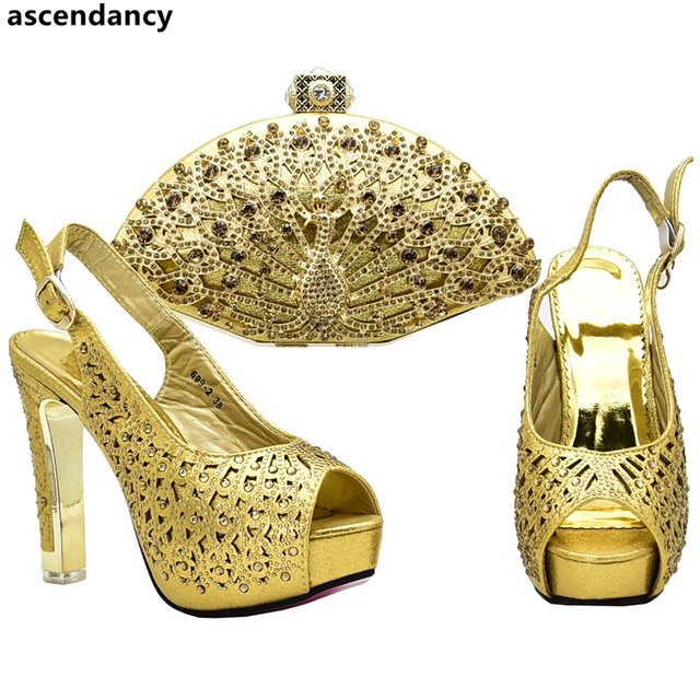 Latest Design Italian Ladies Shoes and Bags To Match Set Decorated with Rhinestone African Wedding Italian Shoes and Bag Sets