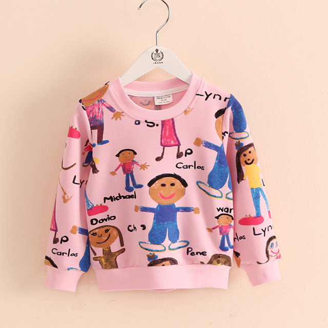 Girls Sweatshirt Cartoon 2016 Spring New Kids Sweatshirt Long Sleeve Solid Jackets Children Casual Children Clothing 2153