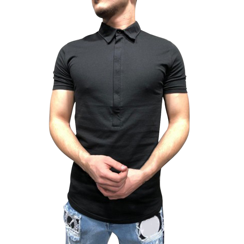 Laamei Men Fashion   Polo   Shirts 2019 New Summer Men Fashion Short Sleeve Button Shirts Solid Slim Fit Mens   Polo   Shirts Tee Tops