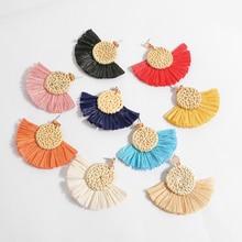 Vintage Tassel Earrings Bohemian Statement Raffia Earring for Women Handmade Lafite Straw Fashion Jewelry