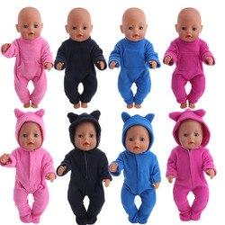 4 цвета, милые пижамы из плотного флиса и одежда для сна для девочек 18 дюймов, куклы и 43 см, одежда для новорожденных, аксессуары и наше поколе...