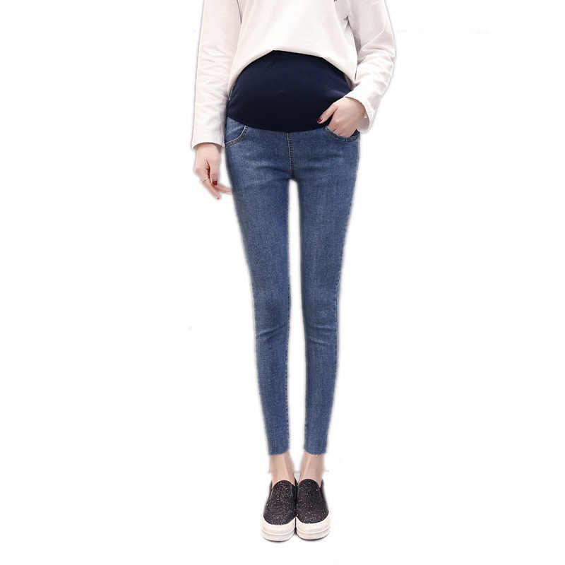 39c15062258ad ... 1009 9/10 Length Thin Stretch Denim Maternity Jeans Summer Korean  Fashion Skinny Pencil Pants
