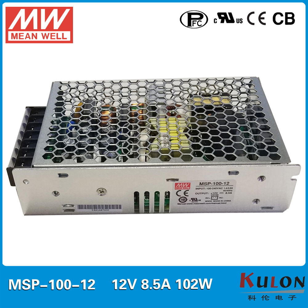 Original MEAN WELL MSP-100-12 AC/DC single output supply 12V 102W 8.5A Switching power supply Medical safety approved with PFC original mean well msp 100 24 ac dc single output supply 24v 108w 4 5a switching power supply medical safety approved with pfc
