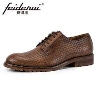 High Quality Genuine Leather Men S Handmade Footwear Round Toe Derby Man Office Flats Formal Dress