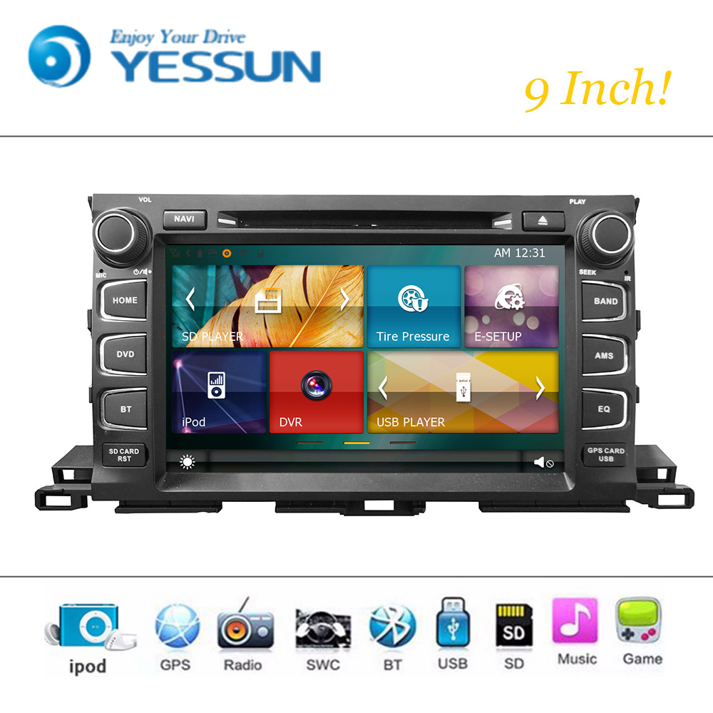 Car DVD Player Wince System For Toyota Highlander 2015-2016 Autoradio Car Radio Stereo GPS Navigation Multimedia Audio Video