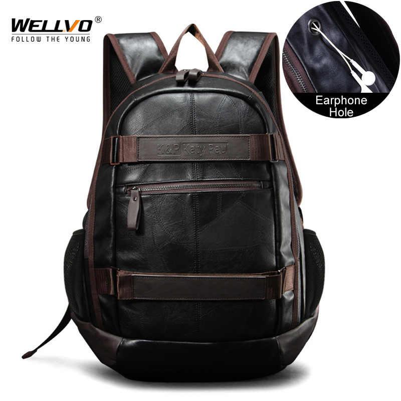 Vintage Men Backpack Large Leather Travel Laptop Bag For Teenage School Backpacks  Male Patchwork Schoolbag Mochila a3384f8ce4d61