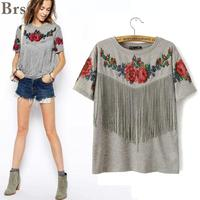 2015 Summer New Women Wholesale Short Sleeve Chest Tassel Fringed Roses Floral Printed Crew Neck Grey
