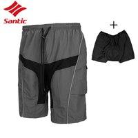 גברים מכנסיים קצרים Santic רכיבה על אופניים אופני הרים במורד כרית הסרה מרופדת מכנסיים המקצועי רכיבה על אופניים ספורט מכנסיים 2018