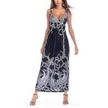 Summer Women Dress 2019 Vintage Sexy Bohemian Floral Tunic Beach Sundress Pocket