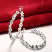 Silver Earrings for Women Fashion Jewelry Round Hoop Earring Big Wedding Party Accessories Female Brinco Earing Gifts Bijoux luxury crystal hoop earrings 925 silver green stone women earrings jewelry wedding design earring gifts brinco