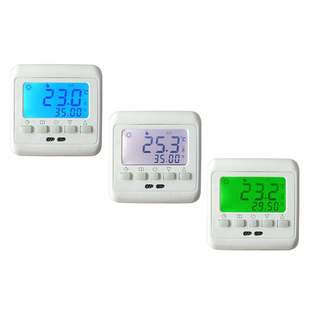 Controlador de Temperatura de Aquecimento por piso radiante Sala Quente Regulador Termostato Programável Semanal com Verde Azul backlight LCD