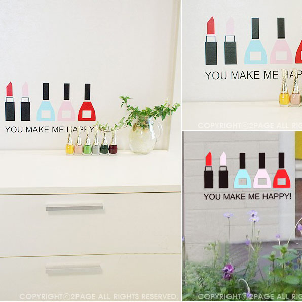Nail Shop Wall Sticker Nail art glass sticker cosmetics design ...