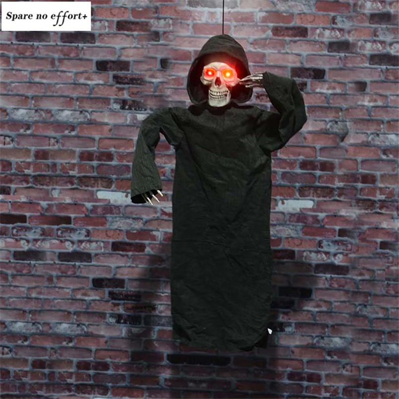 Electric Halloween Creepy Deaths Skull Head Ghost Scary Eyes Glowing Haunted House Halloween Decoration Props Hanging Ghost Doll