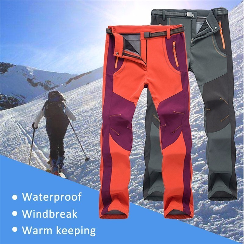 Fleece Hiking Pants Men Winter Pants Outdoor Trousers Women Waterproof Thremal Mountain Trekking Ski Pant dropshipping thin hiking pants men sports pants quick dry breathable outdoor trousers waterproof mountain trekking pant
