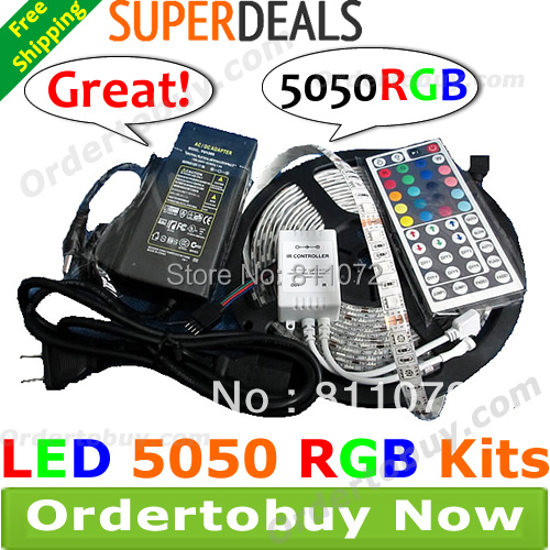 5M 5050 RGB Waterproof 300 LED Strip Light+44Key IR Remote Controller+5A AC Power Supply 12V adapter
