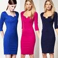 Partido de las mujeres elegan 2017 primavera sexy oficina de trabajo de negocios rojo azul intenso partido lápiz vaina vintage women summer casual dress