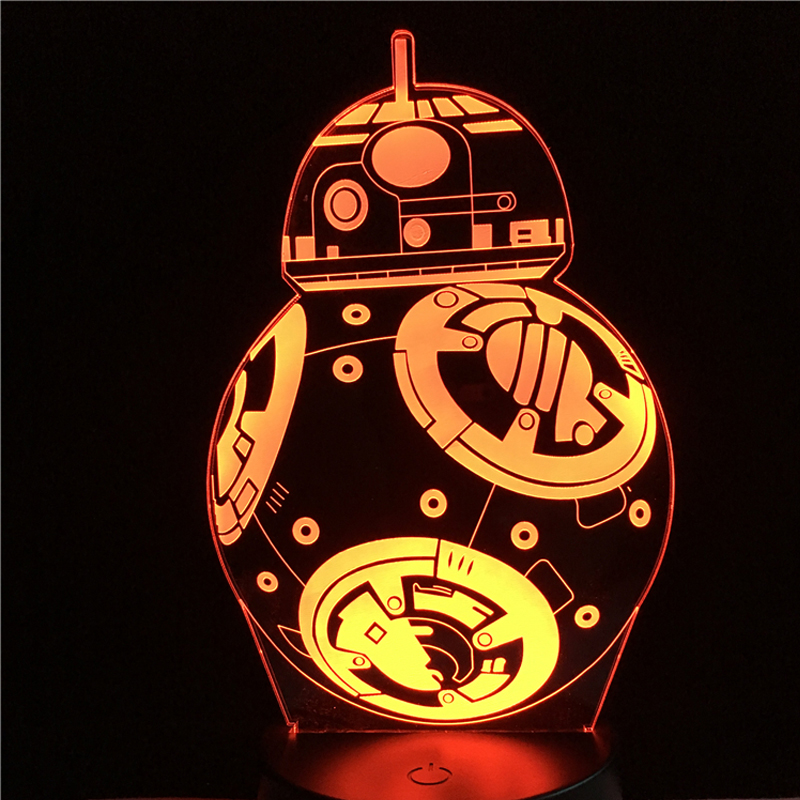 Hot 3D Star Wars Robot BB-8 Table Desk Lamp LED Night Light USB Switch Colorful Holiday Gift Battery Remote Control Kids Gift remote control led light creative monje smart air purifier wireless night lights sensor lamps gift table desk lamp