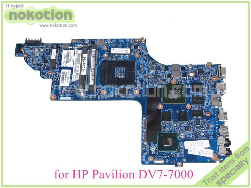 NOKOTION 48.4ST06.021 682040-001 For hp pavilion DV7-7000 DV7T-7000 mothboard GT650M 2G+HD4000 17.3'' ddr3 nokotion 682040 501 682040 001 for hp pavilion dv7 dv7t dv7 7000 laptop motherboard 17 inch hm77 ddr3 gt650m 2gb video card
