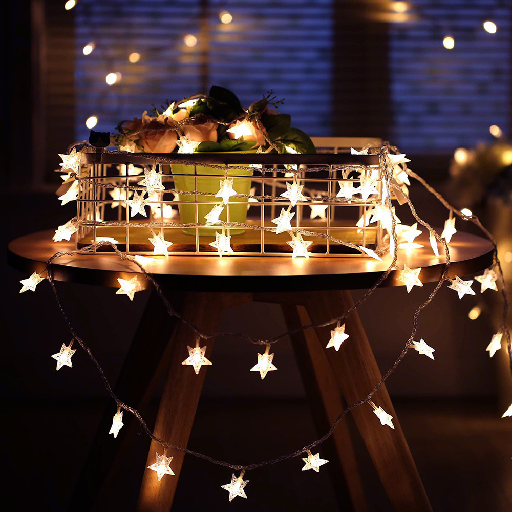 Binval New Year Holiday Lighting LED Star Lights Fairy Garland Waterproof Christmas Wedding Home Outdoor Garden Party Decoration
