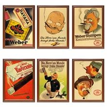 Vintage 1900s tabaco cigarros anuncios cartel cuerno Weber Kraft carteles pinturas clásicas de lona pegatinas de pared decoración del hogar regalo