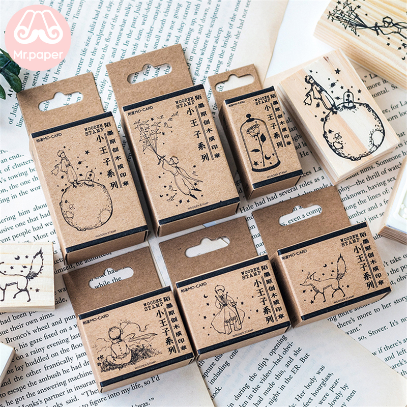 Mr Paper Dreamy Cartoon Little Prince Rose Fox Wooden Rubber Stamps for Scrapbooking Decoration DIY Craft Standard Wooden Stamps 5