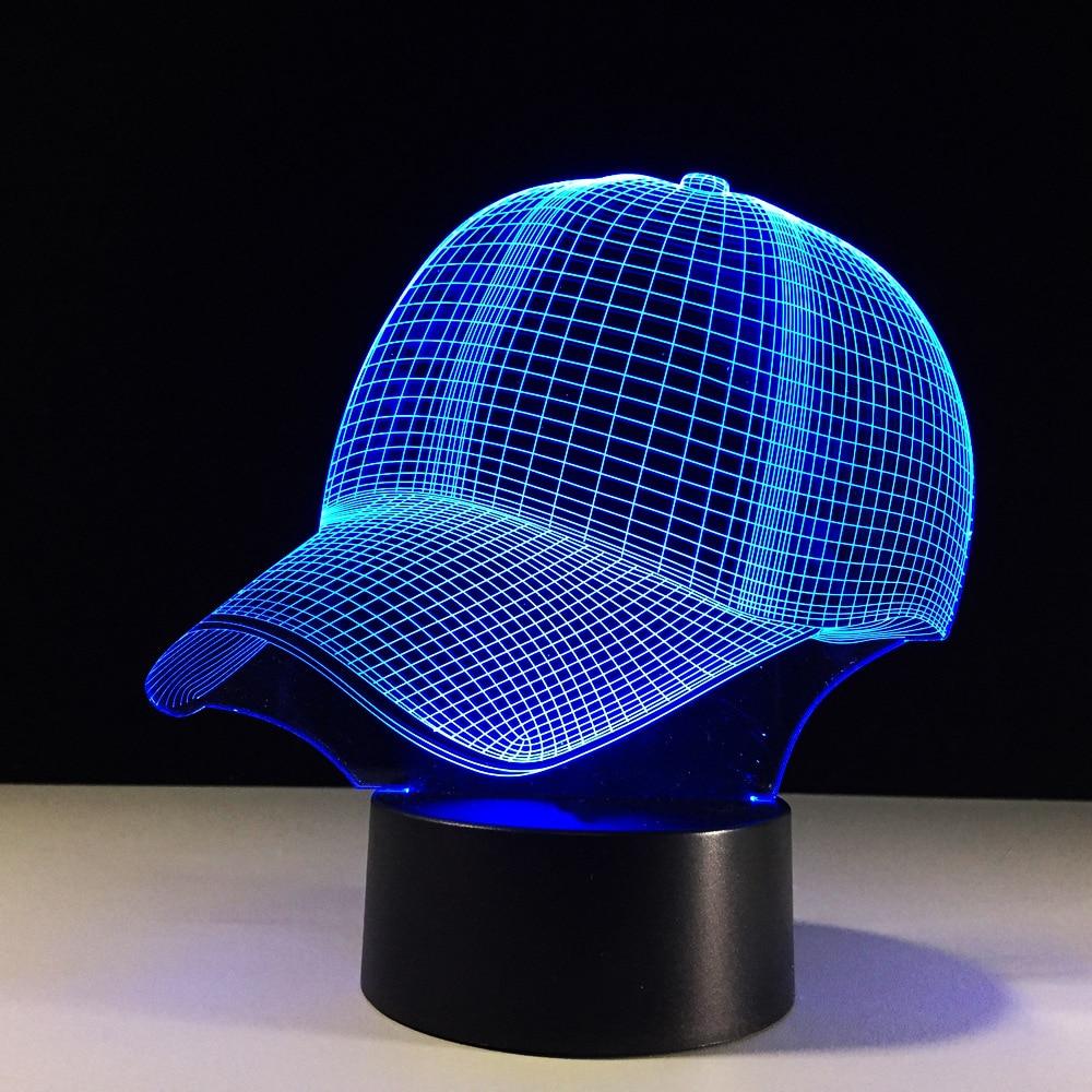 3d Hat Baseball Cap Led Lamp 7 Colors Changing Table Lamp Baby Sleep Night Light Child Xmas Gifts Sports Boy Bedroom Decor Light