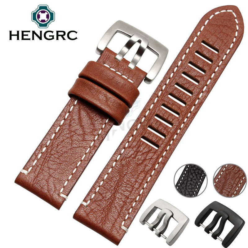 HENGRC Hot Sell Genuine Leather Watch Strap Band 23mm Men New Black Brown Watchband Belt Metal Needle Buckle For Luminox genuine leather watchband for longines men leather watch strap for women metal buckle watch band belt retro watch clock band