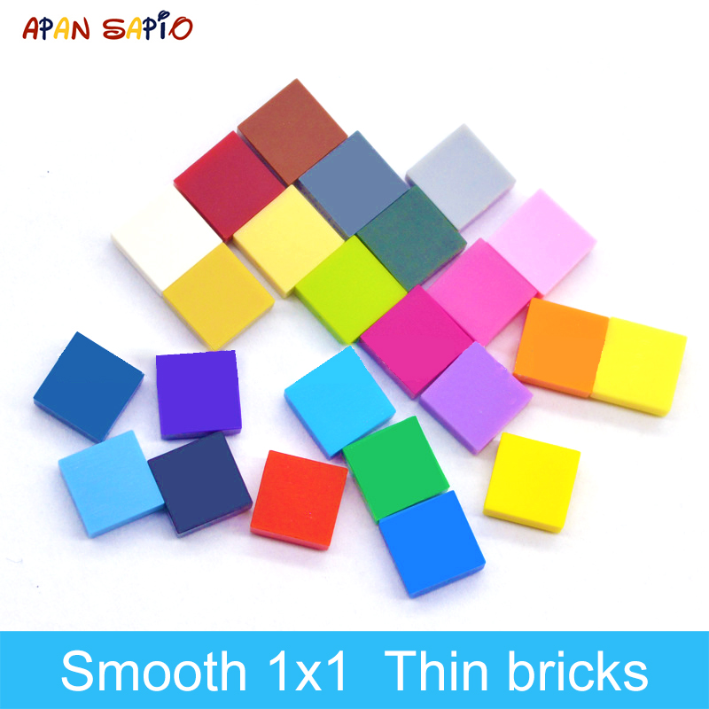 DIY Building Blocks Thin Figure Bricks Smooth 1x1 400PCS 24Color Educational Creative Compatible With Brands Toys For Children