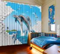 3D الستار الصورة تخصيص حجم الأزرق تحت الماء العالم المرجانية الدلفين الأسماك نافذة الستار غرفة المعيشة التعتيم المطبوعة الستار